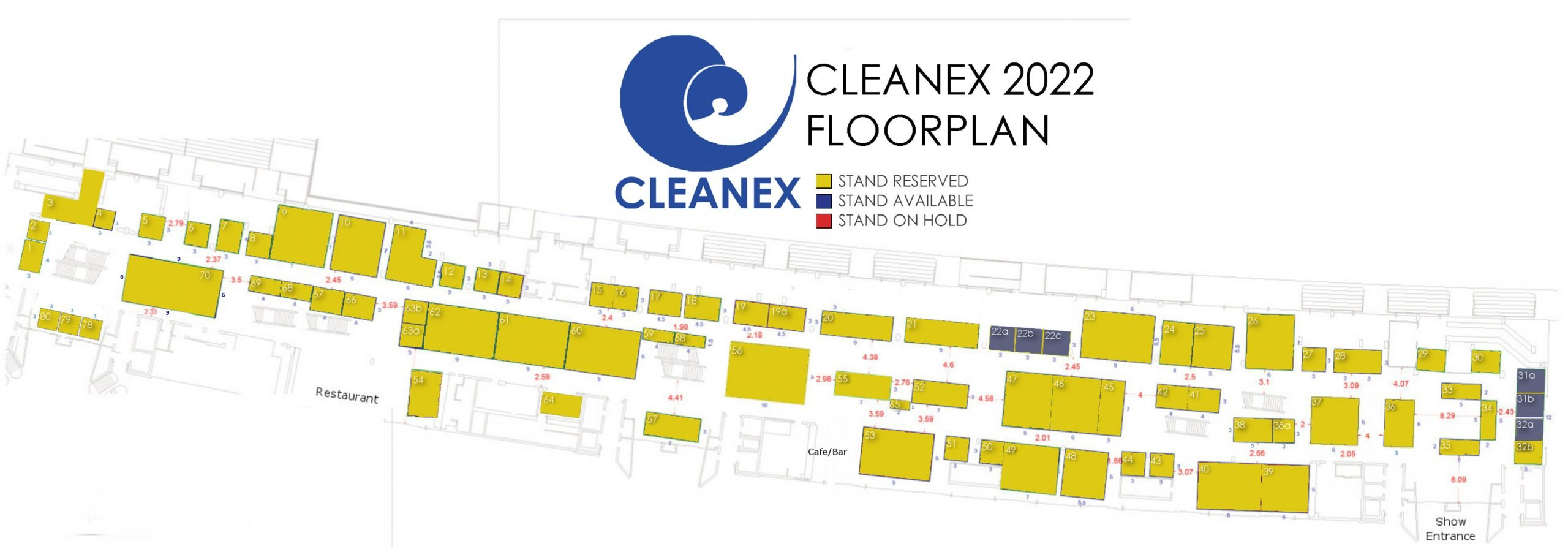 CleanEx floorplan 2021. The cleaning and textile services exhibition presented by megevents